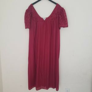 Vintage Nightgown 80s 100% Nylon Satin & Lace 3X